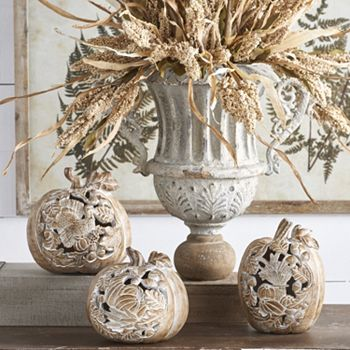 Autumn Décor Spruce Up Your Home- 494-674 At Home w Jorge Set of 3 Whitewashed Thanksgiving Cutout Pumpkins - 494-674