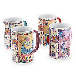 Gibson Home Cat-O-Mine 4-Piece 15 Oz Stoneware Mugs in Assorted Cat Designs