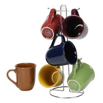 Home Décor & More -496-400 - Gibson Home Cafe Amaretto 7-pc Mug Set With Wire Rack - 496-400