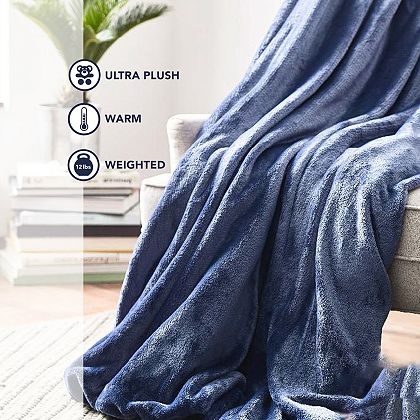 Warm & Cozy Home Snuggle Up w These Holiday Must Haves - 497-030 The Vellux 12lb Choice of Color Heavy Weighted Throw Blanket