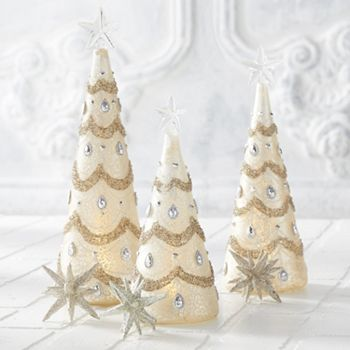 Holiday Decor Luxury Brands Only the Finest For Your Home 497-961 At Home w Jorge Set of 3 Mercury Glass LED Trees w Silver Jewels - 497-961