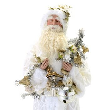 497-997 At Home w Jorge 36 Classic-Style Santa in White w Wreath & Bells - 497-997