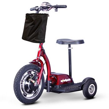 EWheels For Recreation & Mobility 498-186 EWheels 3-Wheel 15mph Max Speed Sit & Stand Electric Scooter w Basket & Extended Warranty - 498-186