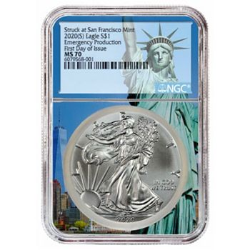 Coin Shoppe Show Your American Pride - 499-175 2020 (S) Emergency Production Silver Eagle NGC MS70 1st Day of Issue Statue of Liberty - 499-175