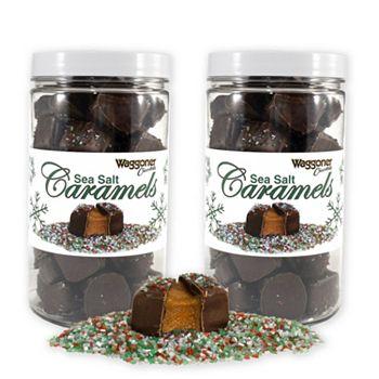 Holiday Treats ft. Waggoner New & Made Just For Christmas! 499-395 Waggoner Chocolates Set of 2 (1.5lb) Sea Salt Caramels w Christmas Sprinkles Jars - 499-395