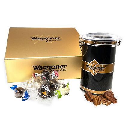 499-400 Waggoner Chocolates Holiday Assorted Soft Centers & Peanut Clusters w Nuts Gift Tin