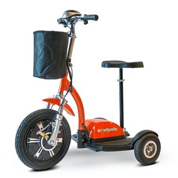 EWheels Scooters For Fun & mobility 500-245 EWheels 3-Wheel TURBO Sit & Stand Electric Scooter w Basket - 500-245