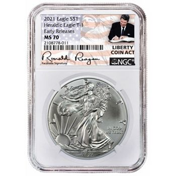 Coin Shoppe Ft. Highly Collectible Early Releases - 500-320 2021 NGC MS70 Early Releases Silver Eagle w Reagan Label - 500-320