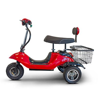 EWheels 3-Wheel 15 mph Max Speed Sit & Stand Electric Scooter w Basket