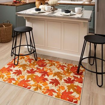 508-338 Mohawk Home Fall Leaves Novelty Holiday Area Rug in Choice of Size - 508-338
