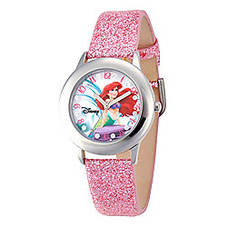 Disney® Ariel Glitz Kids' Stainless Steel Light Pink Glitter Leather Strap Watch