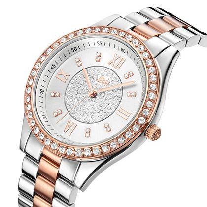 Daily Digital Deals Savings You Won't Find on TV -  633-196 JBW Women's Mondrian Quartz Crystal Accented Stainless Steel Bracelet Watch