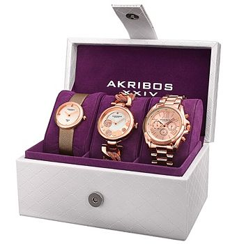 Watch Sets The Perfect Accent for Any Occasion - 646-451 Akribos XXIV Women's Set of 3 Quartz Diamond & Crystal Accented Watches - 646-451