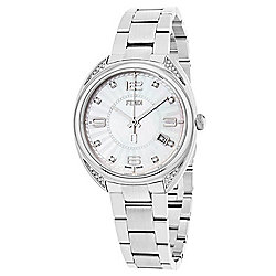 Fendi Women's Momento Swiss Made Quartz Date Diamond Accented Mother-of-Pearl Bracelet Watch