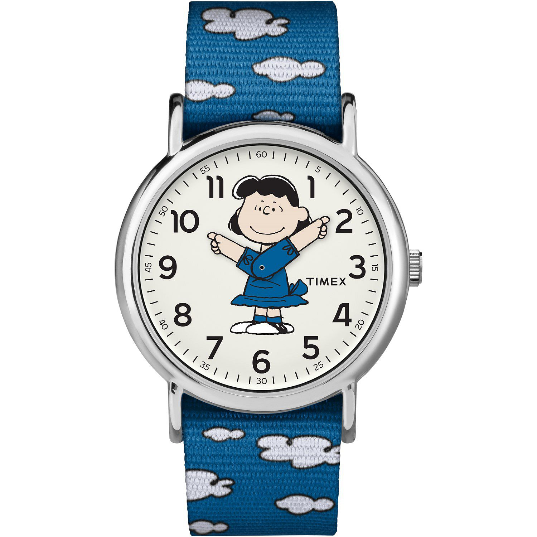 650-595- Timex 38mm Weekender Peanuts Collection Quartz Lucy Nylon Strap Watch