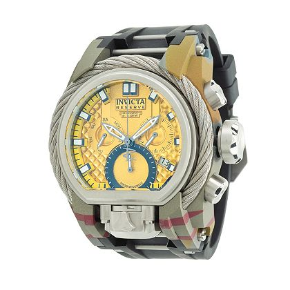 Lowest Prices Ever New Items Added Daily - 654-129 Invicta Reserve Men's 52mm Bolt Zeus Magnum Cable Hydroplated Swiss Quartz Dual Movement Strap Watch