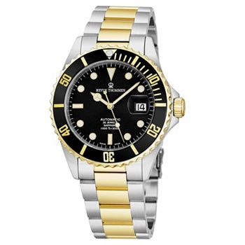 657-448 Revue Thommen Men's 42mm Swiss Made Automatic Diver Black Dial Stainless Steel Bracelet Watch - 657-448