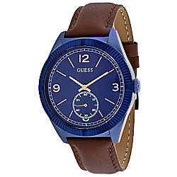 Guess Men's 42mm Dress Quartz Blue Dial Leather Strap Watch