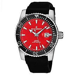 Revue Thommen Men's 45mm Diver Swiss Made Automatic Date Red Dial Rubber Strap Watch