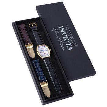 663-070 Invicta Men's Tonneau Specialty Quartz Chronograph Date Leather Watch w 3-Piece Leather Strap Set - 663-070