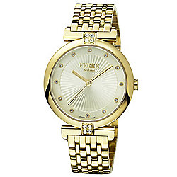 Ferre Milano Women's Swiss Quartz Crystal Accented Stainless Steel Bracelet Watch
