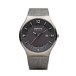 Bering Men's 40mm Slim Solar Quartz Black Dial Silver-tone Stainless Steel Mesh Bracelet Watch