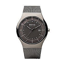 Bering Men's 40mm Slim Solar Quartz Black Dial Stainless Steel Mesh Bracelet Watch