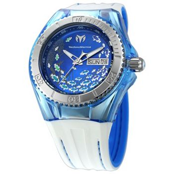 670-156 TechnoMarine Women's Cruise Quartz Mother-of-Pearl Dial Day & Date Blue & White Silicone Strap Watch - 670-156