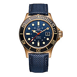 Glycine Men's 42mm Combat Sub Swiss Made Automatic Bronze Case Date Blue Leather Strap Watch