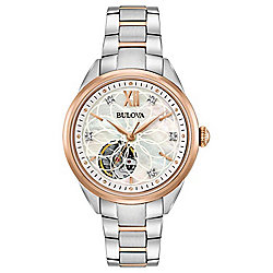 Bulova Women's Automatic Open Heart Diamond Accented Two-tone Stainless Steel Bracelet Watch