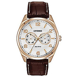 Citizen Men's 43mm Corso Eco-Drive Day/Date Leather Strap Watch