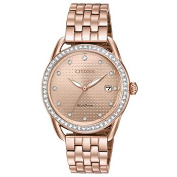 Citizen Timepieces Final Day to Save on Modern Style - 674-503 Citizen Women's 37mm Eco-Drive Drive Bracelet Watch Made w Swarovski Crystals - 674-503