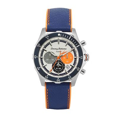 676-008 Men's 44mm Atlantis Diver Quartz Chronograph Genuine Leather Strap Watch