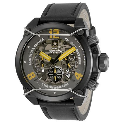 Lowest Prices Ever New Items Added Daily 677-368 Invicta Army Men's 50mm Corduba Quartz Chronograph Leather Strap Watch