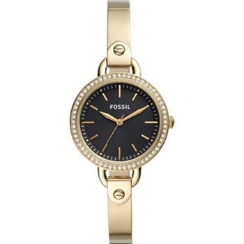 Early Bird Specials Get These Deals First - 679-089 Fossil Women's Classic Minute Quartz Crystal Accented Stainless Steel Bangle Bracelet Watch - 679-089