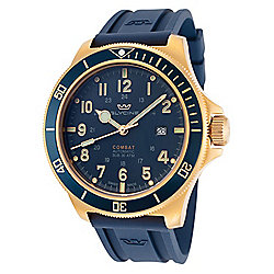 Glycine 46mm Combat Sub 46 Swiss Made Automatic Date Dark Blue Silicone Strap Watch