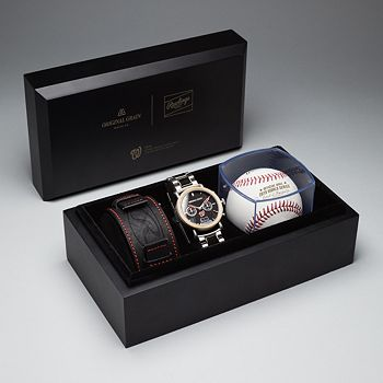 Gifts For Grandparents - 681-461 Original Grain 44mm Barrel MLB World Series Limited Edition Quartz Chronograph Watch Set - 681-461