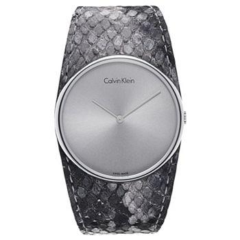 683-215 Calvin Klein Women's Swiss Made Quartz Patterned Leather Strap Watch - 683-215