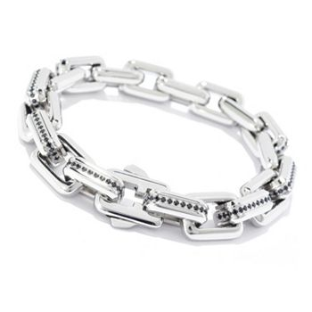 Invicta Lifestyle 684-002 Invicta Jewelry Men's Stainless Steel Simulated Diamond Link Bracelet - 684-002