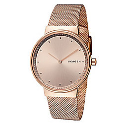 Skagen Women's Annelie Rose Quartz Crystal Accented Stainless Steel Bracelet Watch
