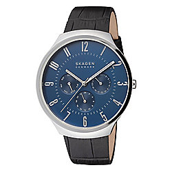 Skagen Men's 42mm Grenen Quartz Multi Function Blue Dial Leather Strap Watch