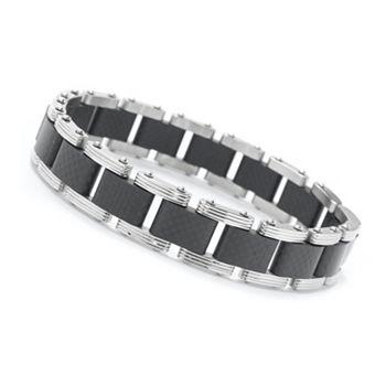 684-972 Invicta Jewelry Men's Stainless Steel 8.5 Carbon Fiber Inlay Link Bracelet - 684-972