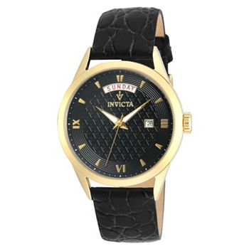 685-670 Invicta Women's Vintage Quartz Stainless Steel Goldtone & Black Leather Strap Watch - 685-670