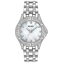 Bulova Women's Quartz Diamond Accented Mother-of-Pearl Dial Bracelet Watch