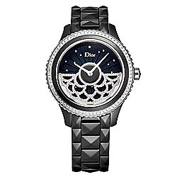 Christian Dior Women's Black VIII Automatic Diamond Accented Dentelle Dial Ceramic Bracelet Watch