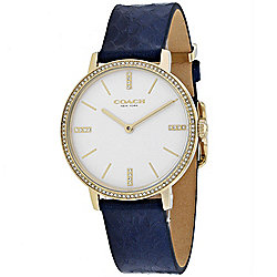 Coach Women's Quartz Crystal Accented Leather Strap Gold-tone/Blue Watch