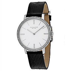 Coach Women's Quartz Crystal Accented Leather Strap Silver-tone/Black Watch
