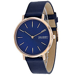 Skagen Women's Quartz Mother-of-Pearl Dial Blue Leather Strap Watch