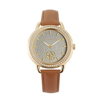 686-699 Tommy Bahama Women's 34mm Quartz Crystal Accented Brown Leather Strap Watch - 686-699