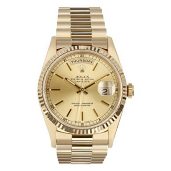 National Brands Up to 90% Off Famous Luxury 686-832 Pre-Owned Rolex Men's Day-Date 36 Fluted Bezel 18K Yellow Gold Presidential Bracelet Watch